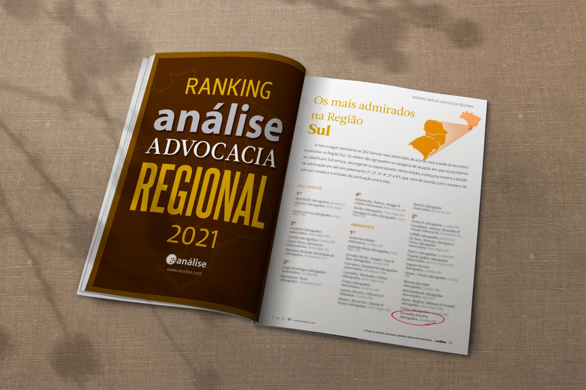 Vernalha Pereira é destaque na primeira edição do ranking Análise Advocacia Regional